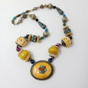 Chunky Boho Faux Turquoise Carved Beads Necklace